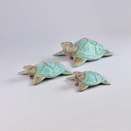 Jogo c/3 Enfeites Tartarugas Azul Claro