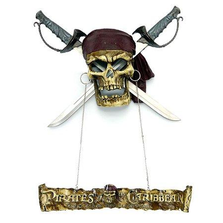 Decorativo Rústico Caveira Piratas do Caribe