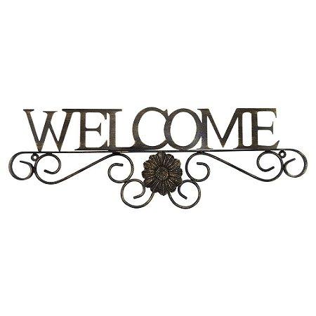 Aramado Welcome marrom em metal