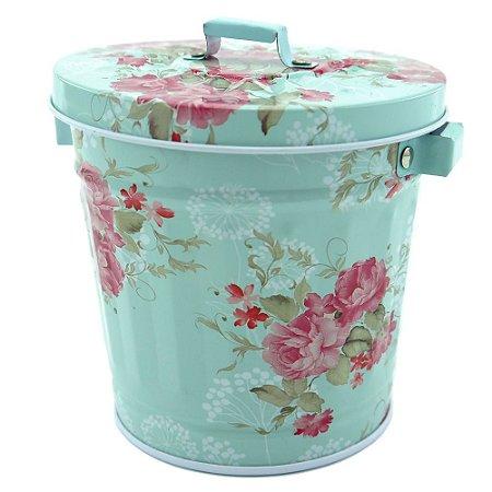 Latinha de Lixo Flowers Azul e Rosa