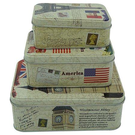 Jogo de 3 Caixas Vintage Travel