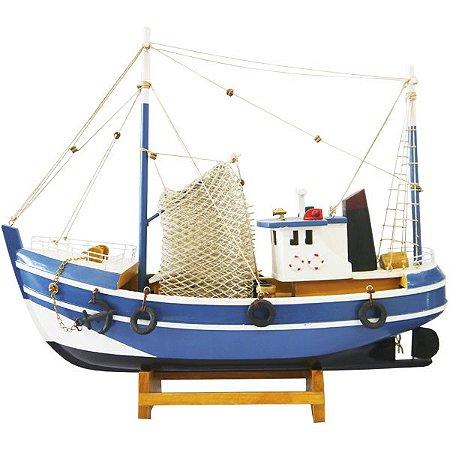 Barco Miniatura Decorativo Pesqueiro Azul E Preto