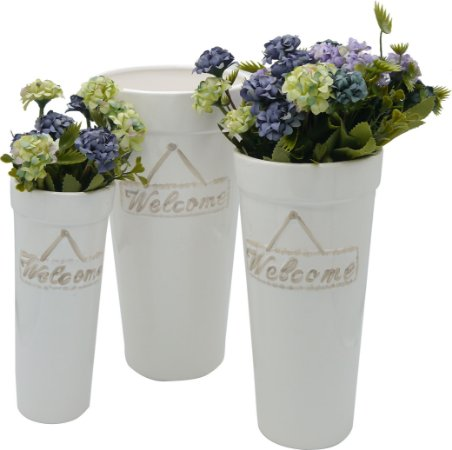Jogo c/ 3 Vasos de Cerâmica Cilindro Welcome