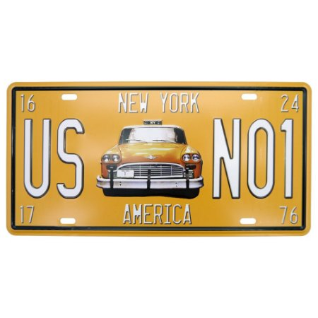 Placa decorativa de Metal Taxi