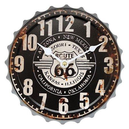 864abb62c02 Relógio de Parede Vintage Route 66 Preto - Loja de Artigos para ...