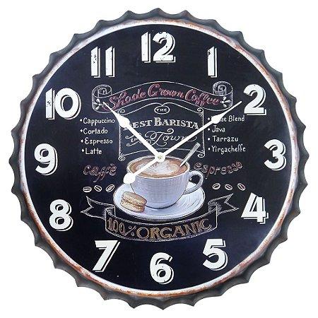 Relógio de Parede Coffee Organic Preto