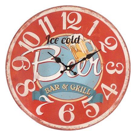 Relógio de Parede Vintage Beer Vermelho