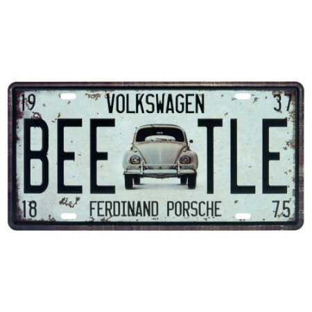 Placa decorativa de Metal Fusca Beetle