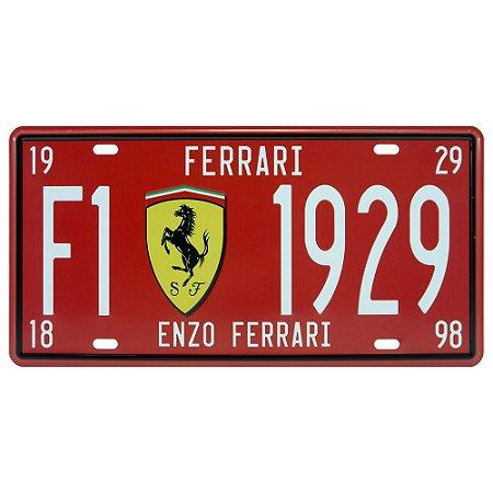 Placa decorativa de Metal Ferrari 1929