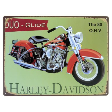 Placa decorativa de Metal Harley Verde