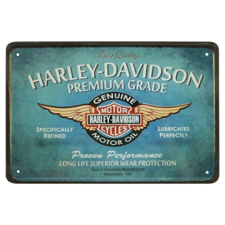 Placa de Metal Decorativa Azul Harley