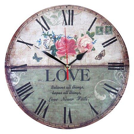 Relógio de Madeira Believe in Love