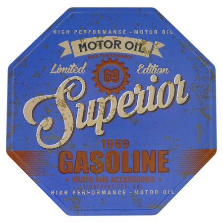Placa Vintage Gasoline Azul