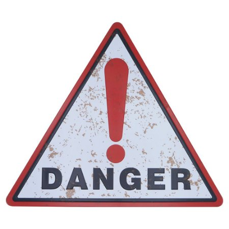 Placa de Metal Decorativa Danger