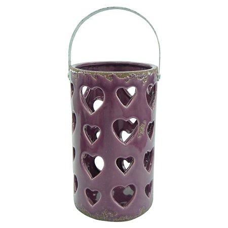 Lanterna de Cerâmica Vazada Roxa