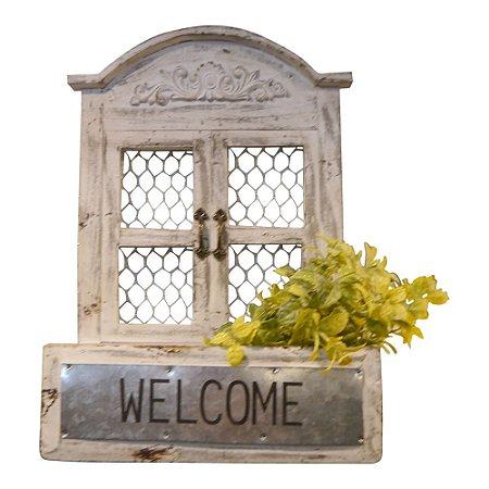 Vaso de Madeira Janelinha Welcome