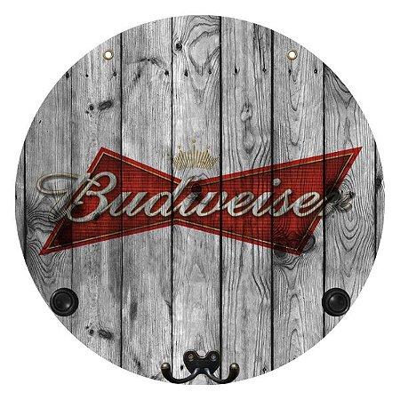 Placa Grande Budweiser com Cabideiro