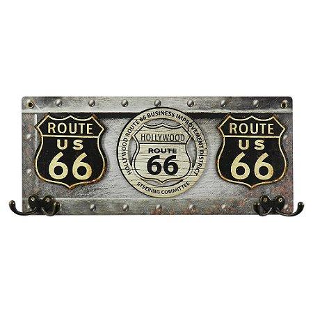Cabideiro de Parede de Madeira Route 66 estilo Metal