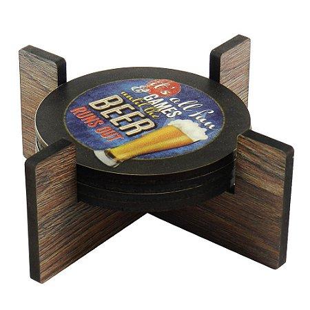 Jogo c/ 4 Porta Copos Beer