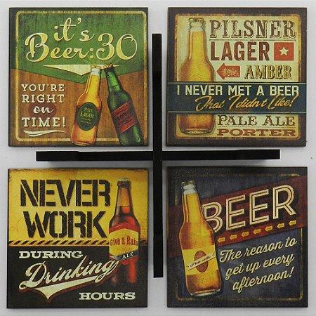 Jogo c/ 4 Porta Copos Quadrados Cerveja
