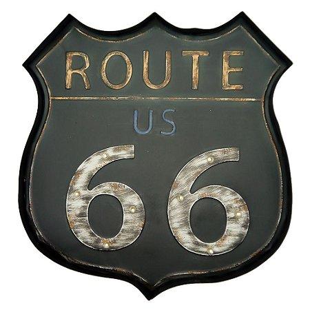Placa de Metal Route 66 Emblema com LED