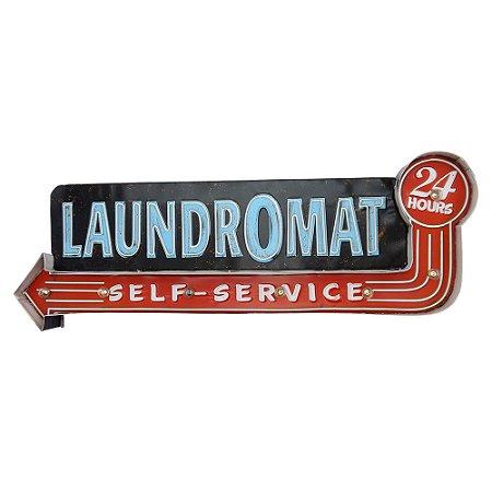 Placa De Metal Laundromat com LED