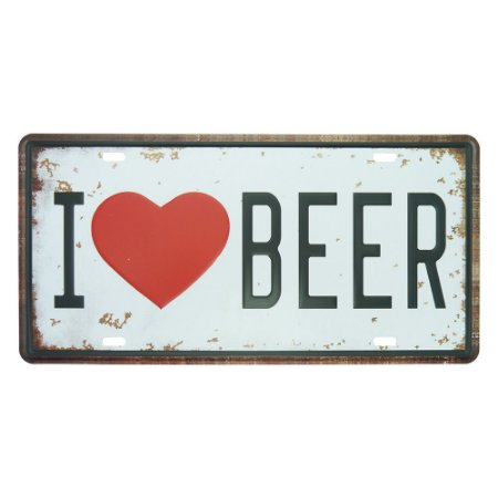 Placa de Metal I Love Beer