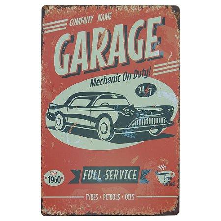 Placa de Metal Garage