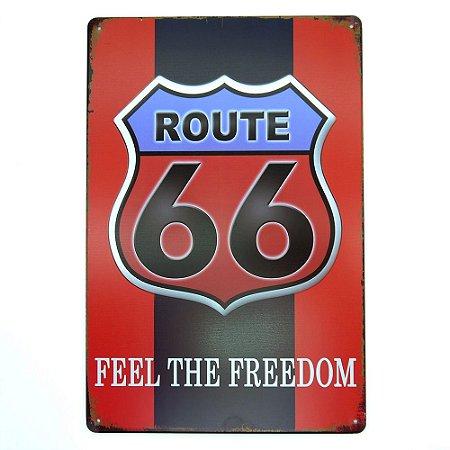 Placa de Metal Route 66 Vermelho
