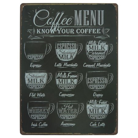 Placa de Metal Coffee Menu