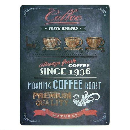 Placa de Metal Morning Coffee