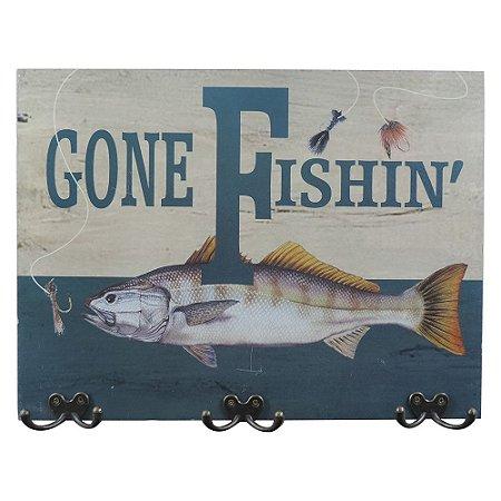 Cabideiro de Parede Peixe de Madeira