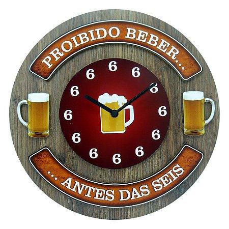 Relógio de Parede Proibido Beber