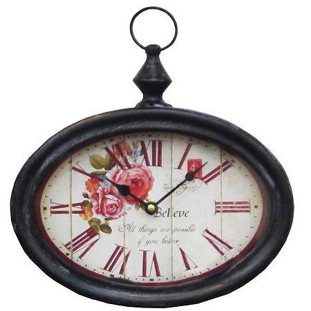 Relógio de Parede Vintage Rosas