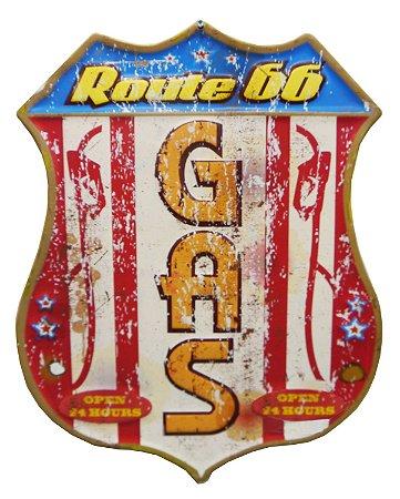 Placa de Metal Decorativa Route 66