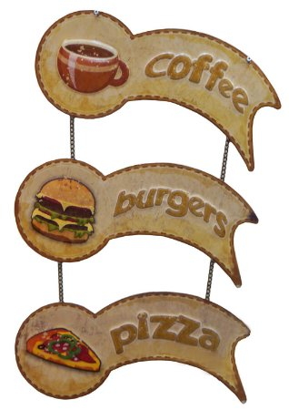 Placa de Metal Coffe - Pizza - Burgers