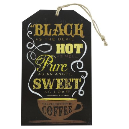 Decorativo de Madeira Tag Parede Black Hot Cafe