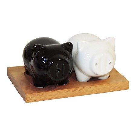 Saleiro e Pimenteiro Porquinhos Preto e Branco
