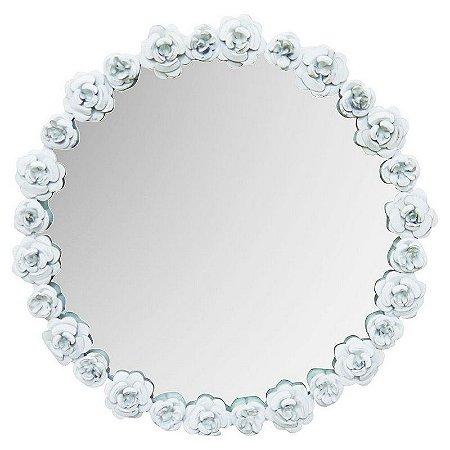 Espelho Branco Rosas de Metal