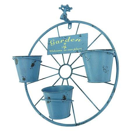 Vaso de Metal com Torneira Azul de Parede