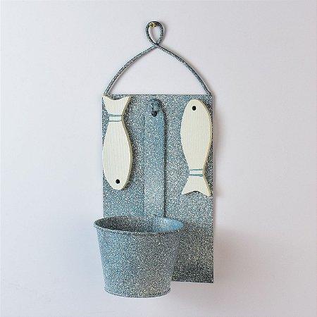 Vaso de Parede Rústico Azul com Peixes