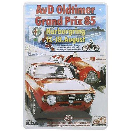 Placa de Metal Decorativa Red Car 85