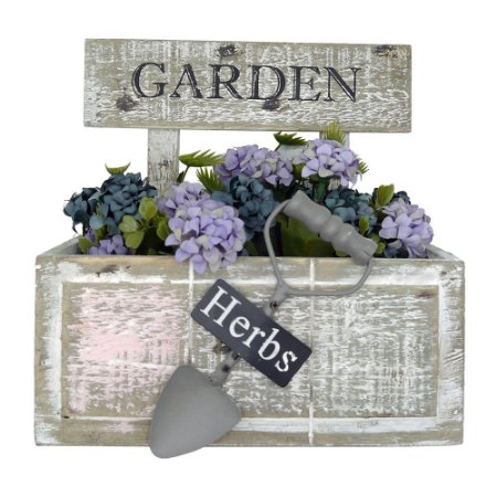 Vaso de Madeira Rústico Garden Com Pá