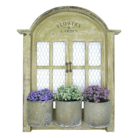 Vasos de Metal Flowers Janela Rústica