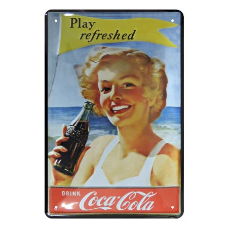 Placa Decorativa de Metal PIN NUP Coca Cola