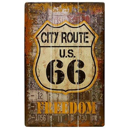 Quadro de Madeira Route 66 Freedom