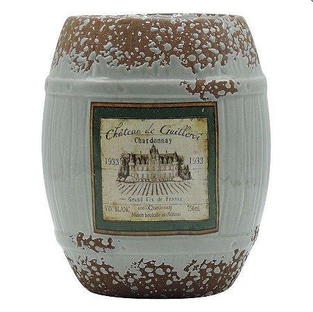 Vaso de Cerâmica Rústico Barril Cinza