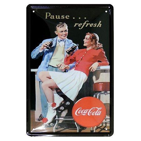 Placa Decorativa de Metal Coca Cola Refresh