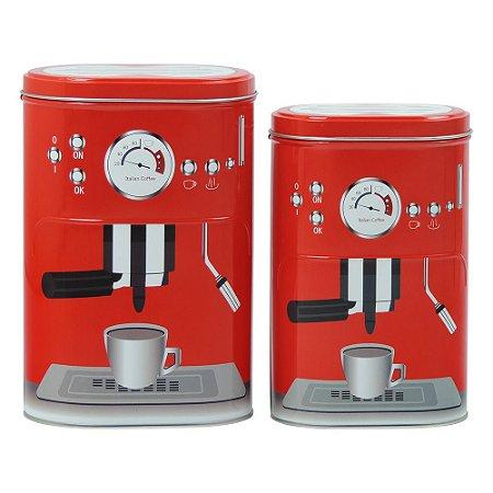 Jogo c/ 2 Latas de Metal Vermelha Coffee Express