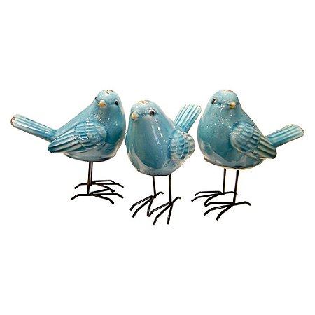 Jogo c/ 3 Pássarinhos de Cerâmica Azul